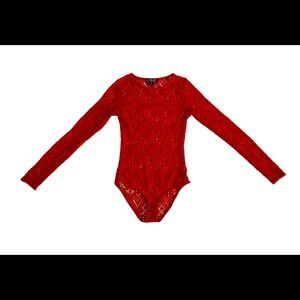 Cotton Candy Red Lace Bodysuit Size Small